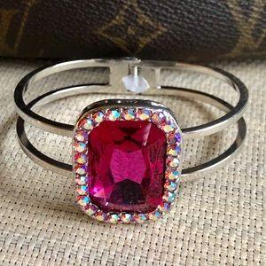 Fuscia & Crystal Hinged Bangle Bracelet